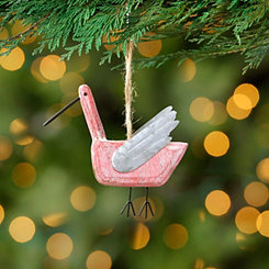 Pink Wood Bird Ornament