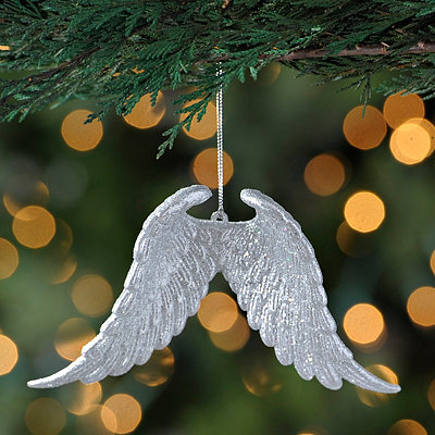 Silver Pair of Angel Wings Ornament