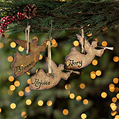 Metal Angel Herald Ornaments, Set of 3