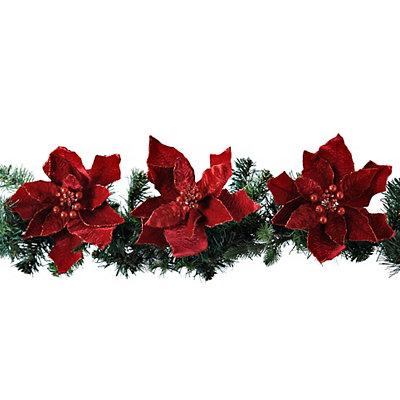 Red Velvet Poinsettia Clips, Set of 3