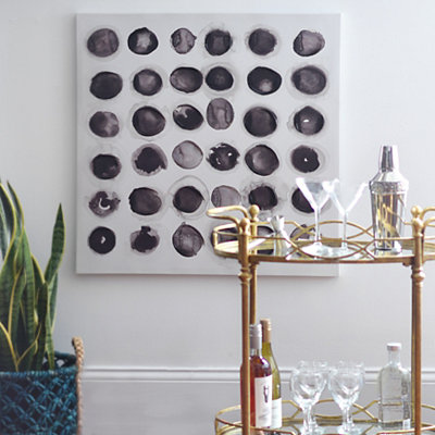 Black Circles Abstract Canvas Art Print