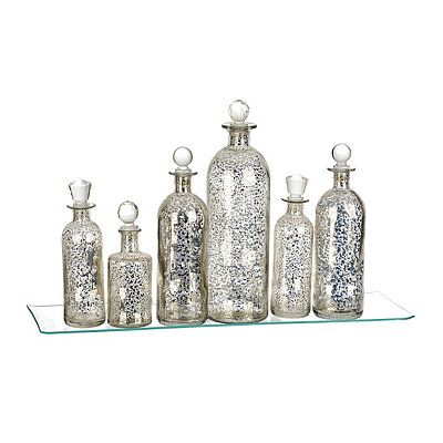 Mercury Glass Bottles and Tray, Set of 7