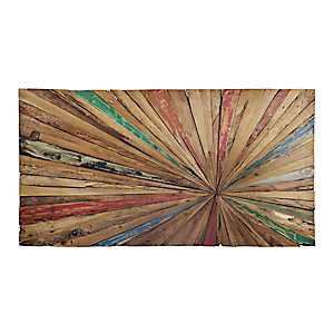 Teak Spectrum Burst Wall Plaque