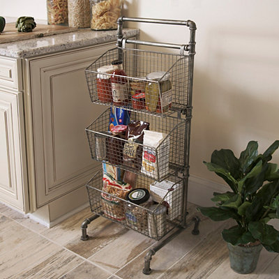 Industrial 3-Tier Metal Basket Tower