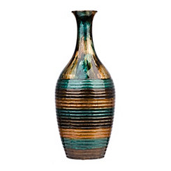 Metallic Color Infusion Striped Floor Vase