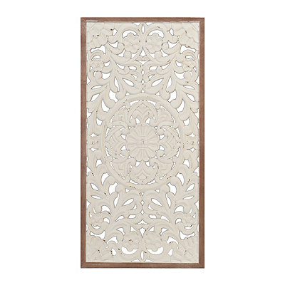 Ivory Baroque Scroll Carved Panel