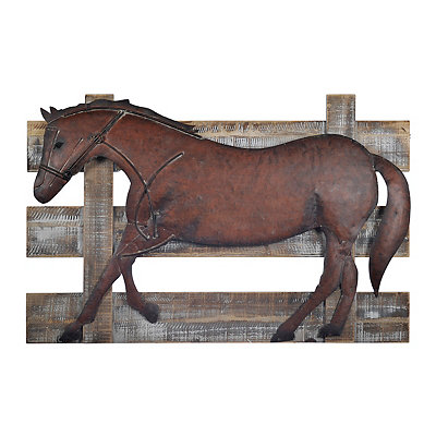 Horse On Fence Wood and Metal Wall Plaque