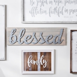 Galvanized Blessed Wooden Plaque