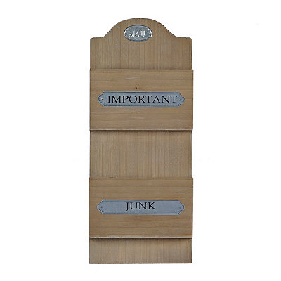 Natural Wooden Double Mail Holder Plaque