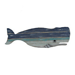 Blue Distressed Whale Wood Plank Plaque