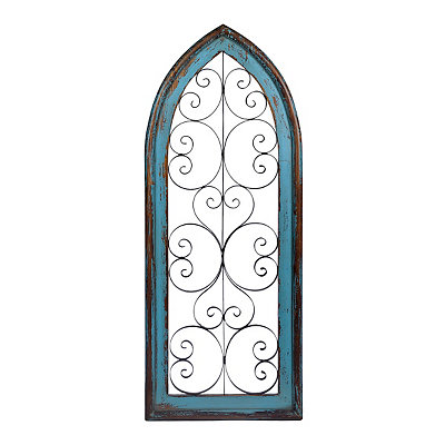 Katelyn 2-Tone Arch Wood and Metal Wall Plaque
