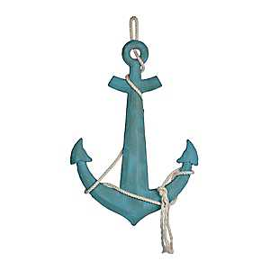Turquoise Anchor Wooden Plaque