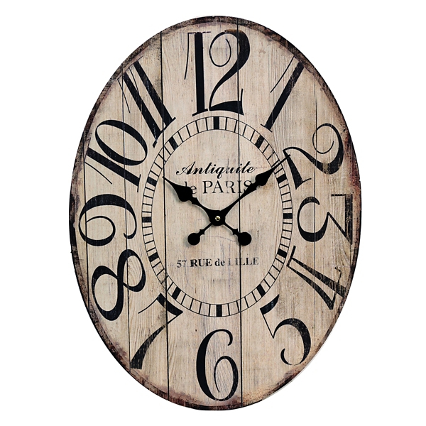natural wood plank oval clock