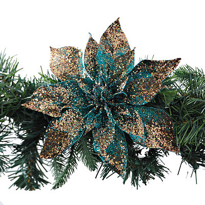 Peacock Poinsettia Clip