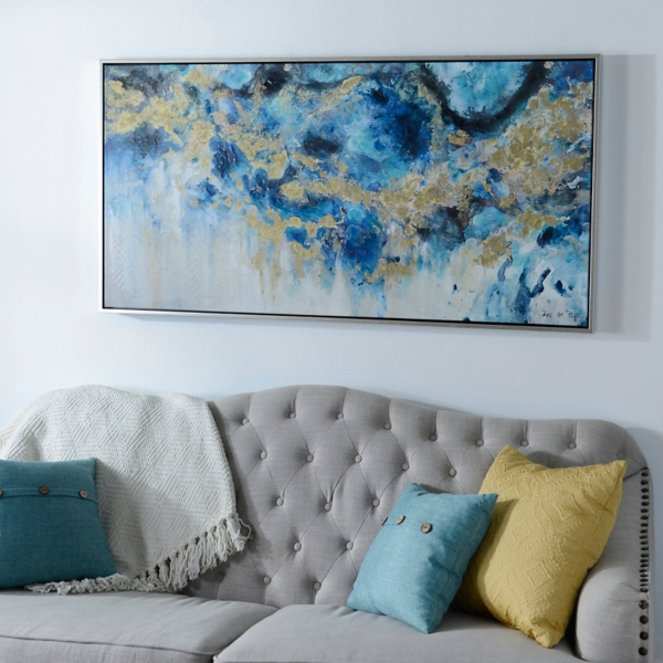 Blue Canvas Wall Art blue geode and marble framed canvas art print | kirklands