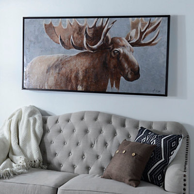 Bold Moose Framed Canvas Art Print