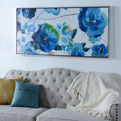 Variegated Blues Framed Canvas Art Print
