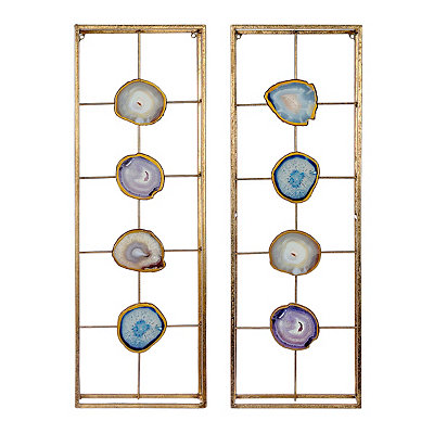 Agate Panel Metal Wall Plaques, Set of 2