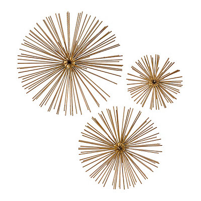 Gold Star Urchin Wall Plaques, Set of 3