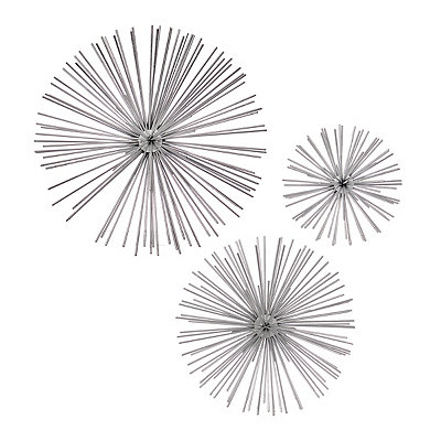 Silver Star Urchin Wall Plaques, Set of 3