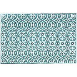 Aqua Floral Tiles 2-pc. Washable Scatter Rug