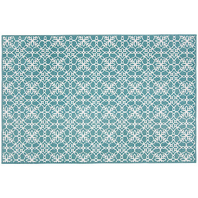 Aqua Floral Tiles 2-pc. Washable Scatter Rug