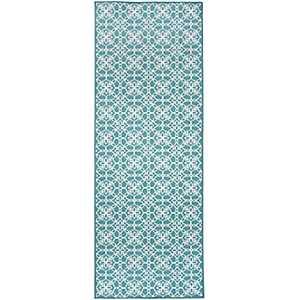 Aqua Floral Tiles 2-pc. Washable Runner