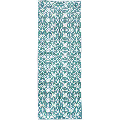 Aqua Floral Tiles 2-pc. Washable Runner
