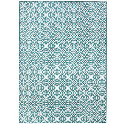 Aqua Floral Tiles 2-pc. Washable Area Rug, 5x7