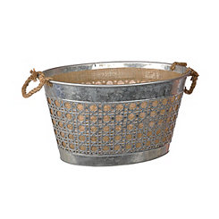 Large Metal and Burlap Bucket
