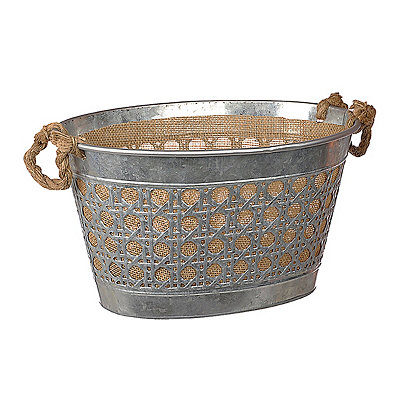 Medium Metal and Burlap Bucket