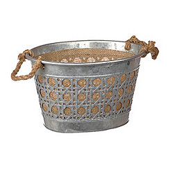 Small Metal and Burlap Bucket