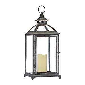 Dark Gray Lantern with LED Candle