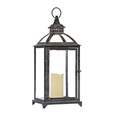 Dark Gray Lantern with LED Candle