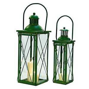 Vintage Rustic Green Metal Lanterns, Set of 2