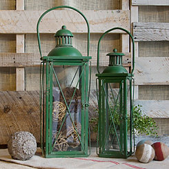 Vintage Rustic Green Metal Lanterns, Set of 2