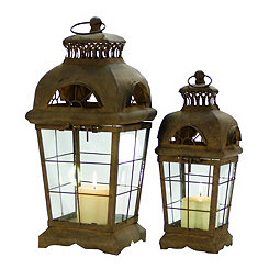 Old World Metal Lanterns, Set of 2