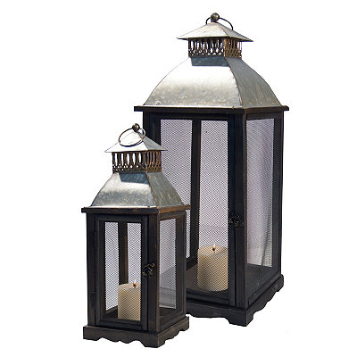 Rustic Industrial Metal Lanterns, Set of 2