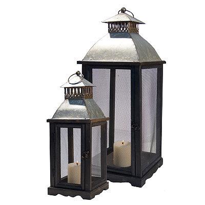 Rustic Industrial Metal Lanterns, Set of 2