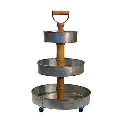 Galvanized Metal and Wood 3-Tier Tray Tower