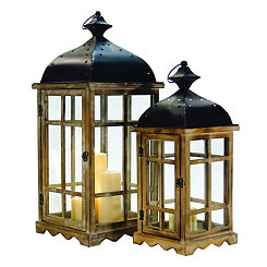 Natural Pickled Wood Lanterns, Set of 2