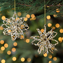 Glitter Flower Ornaments, Set of 2