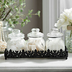 Glass Canisters and Embossed Iron Tray, Set of 4