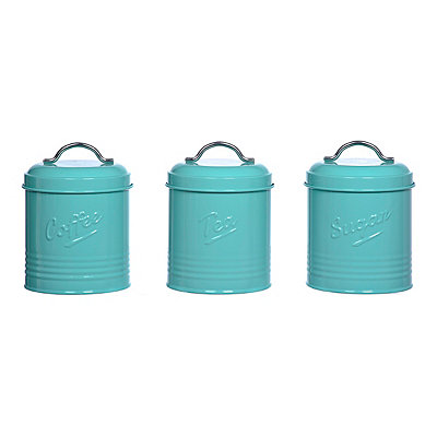 Turquoise Embossed Metal Canisters, Set of 3