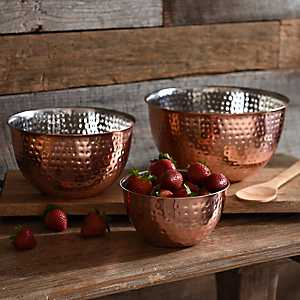 Hammered Copper Mixing Bowls, Set of 3