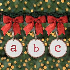 Wood Slice Monogram Ornaments