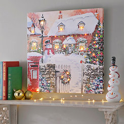 Home For Christmas LED Canvas Art Print