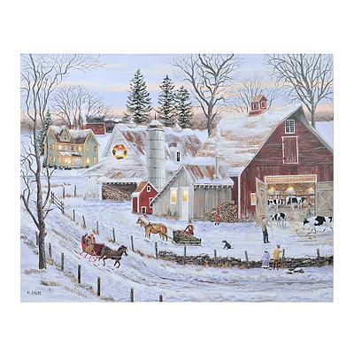 Christmas Farmhouse LED Canvas Art Print