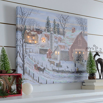Christmas Farmhouse LED Canvas Art Print