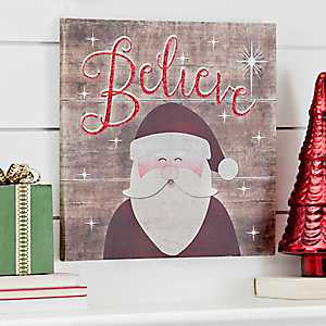 Believe Santa LED Canvas Art Print
